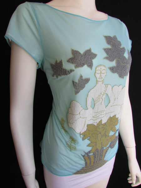 Light Blue White Silk Blouse Shirts Dress Flower Asian Bead Giorgio Armani New Women Size 10