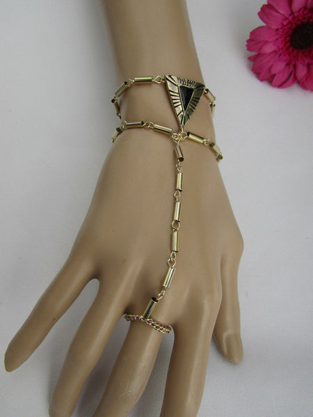 Light Gold Metal Hand Body Chain Slave Ring Gold Black Triangle New Women Trendy Fashion Accessories