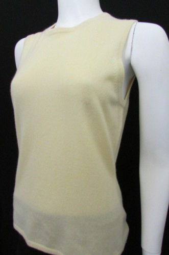 Light Yellow Tse Classic Knit Sleveeless Cashmere Tank Top Blouse Women New Fashion Size Large
