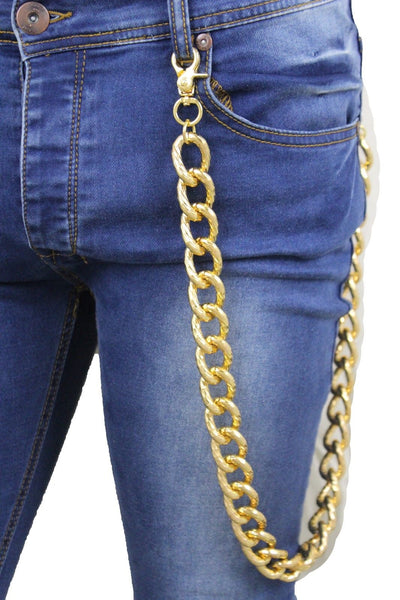 New Gold Strong Men Wallet Metal Chain Textured Link KeyChain Chunky Jean Biker
