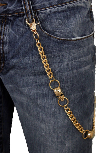 Gold Metal Wallet Chain Links Key Chain Biker Trucker 3 Skeleton Skull Charms Men Accessories