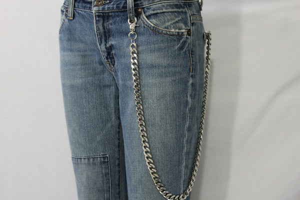 Men Silver Chunky Metal Extra Long Thick Links Wallet Chains KeyChain Biker Jean