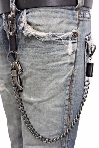 Men Silver Metal Wallet Chain Key Chain Black Leather Horn Skull Motorcycle Biker