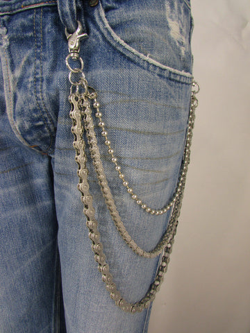 Men Silver Metal Wallet Chains Links KeyChain  3 Strands Jeans Trucker Biker Motorcycle
