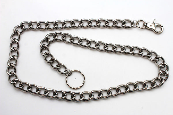 Men Silver Metal Wallet Chunky Chains Thick Links Key Chain Long Trucker Biker