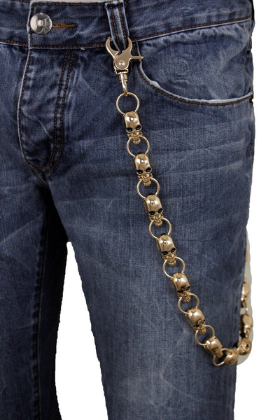 New Men Wallet Chain Rocker Strong Gold Metal Long Skeleton Chunky Skull Bones Biker