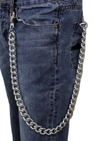 Men Wallet Chain Silver Chunky Metal Thick Links Long Key Trucker Jeans Jewelry