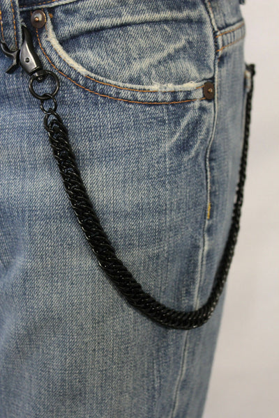Men Women Black Chunky Metal Thick Wallet Chain Link KeyChain Biker Jeans Rocker