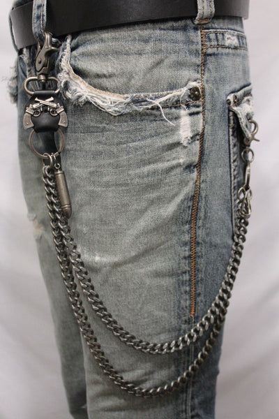 Antique Silver Metal Wallet Chain KeyChain Black Leather Guns Bullets Skull Jeans Cowboy Rocker Trucker New Men Style - alwaystyle4you - 5