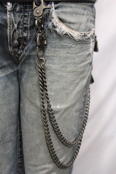 Antique Silver Metal Wallet Chain KeyChain Black Leather Guns Bullets Skull Jeans Cowboy Rocker Trucker New Men Style - alwaystyle4you - 7
