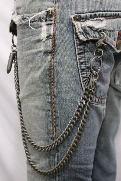 Antique Silver Metal Wallet Chain KeyChain Black Leather Guns Bullets Skull Jeans Men Accessories