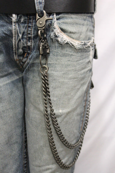 Antique Silver Metal Wallet Chain KeyChain Black Leather Guns Bullets Skull Jeans Cowboy Rocker Trucker New Men Style - alwaystyle4you - 11
