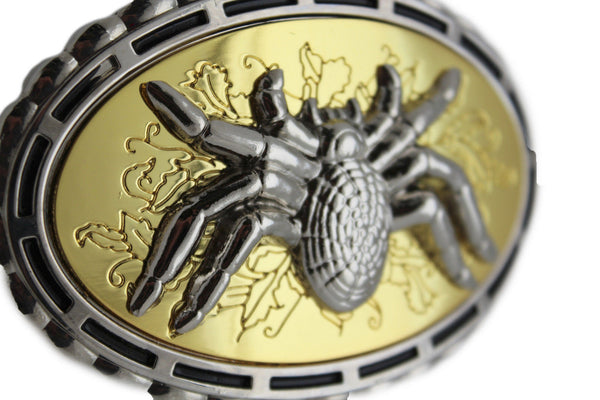 Silver Metal Gold Bling Big Spider Tarantula Hip Hop Oval Belt Buckle Men Accessories