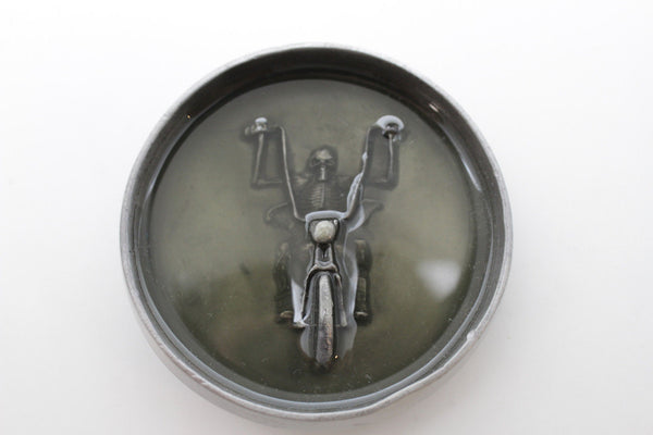Silver Metal Round Heavy Grey Green Skeleton Rider Motorcycle Bones Belt Buckle Men Accessories