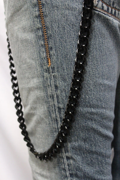 Black  Metal Links Extra Long Wallet Chains ThickKeyChain Jeans Chunky Motorcycle Biker Rock New Men Style - alwaystyle4you - 9