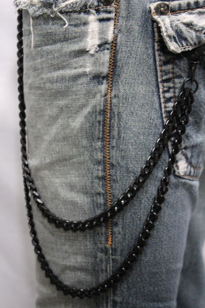 Black Heavy Metal Long Wallet Chains Metal Links KeyChain Jeans 2 Strands Chunky Biker Rocker Punk New Men Style - alwaystyle4you - 6
