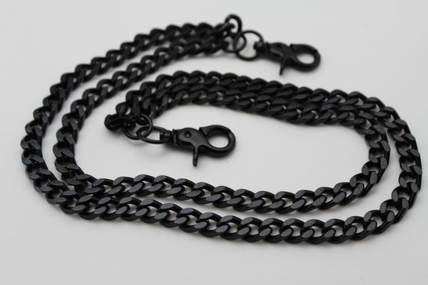 Black Heavy Metal Long Wallet Chains Metal Links KeyChain Jeans 2 Strands Chunky Biker Rocker Punk New Men Style - alwaystyle4you - 8