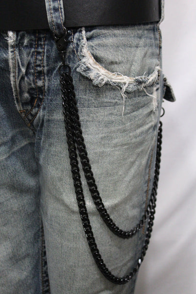 Black Heavy Metal Long Wallet Chains Metal Links KeyChain Jeans 2 Strands Chunky Biker Rocker Punk New Men Style - alwaystyle4you - 9
