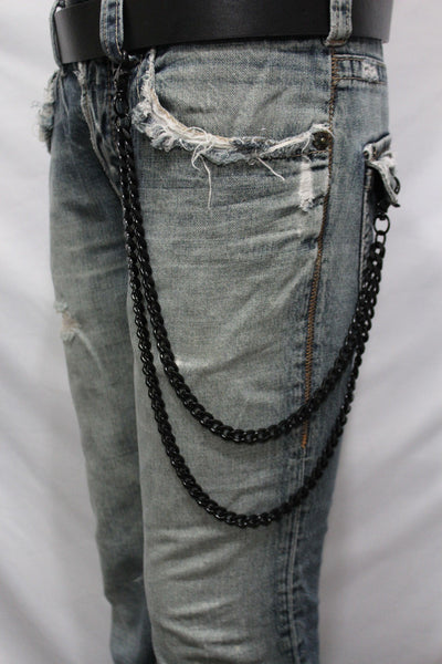 Black Heavy Metal Long Wallet Chains Metal Links KeyChain Jeans 2 Strands Chunky Biker Rocker Punk New Men Style - alwaystyle4you - 10