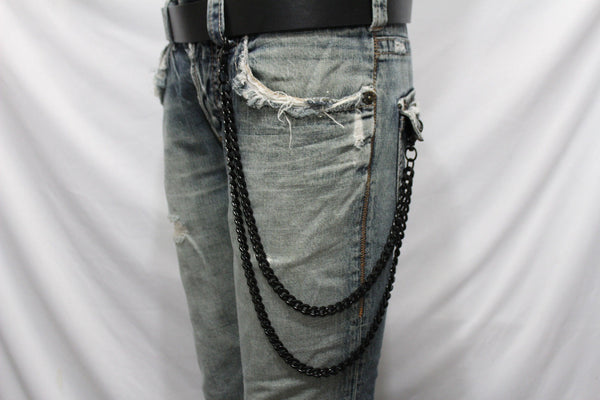 Black Long Wallet Chains Metal Links KeyChain Jeans 2 Strands Chunky Biker Men Accessories