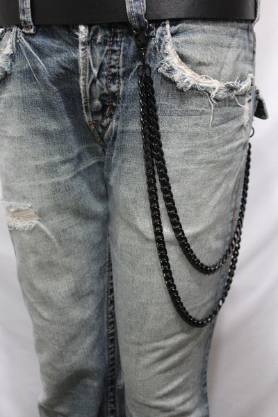 Black Heavy Metal Long Wallet Chains Metal Links KeyChain Jeans 2 Strands Chunky Biker Rocker Punk New Men Style - alwaystyle4you - 12