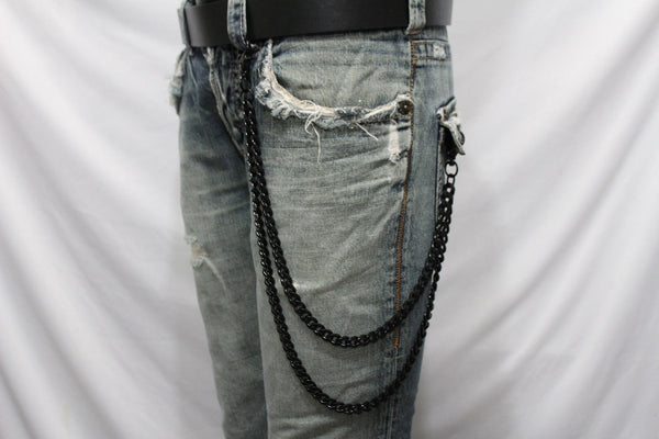 Black Heavy Metal Long Wallet Chains Metal Links Jeans 2 Strands Chunky Biker Rocker Punk Men Accessories