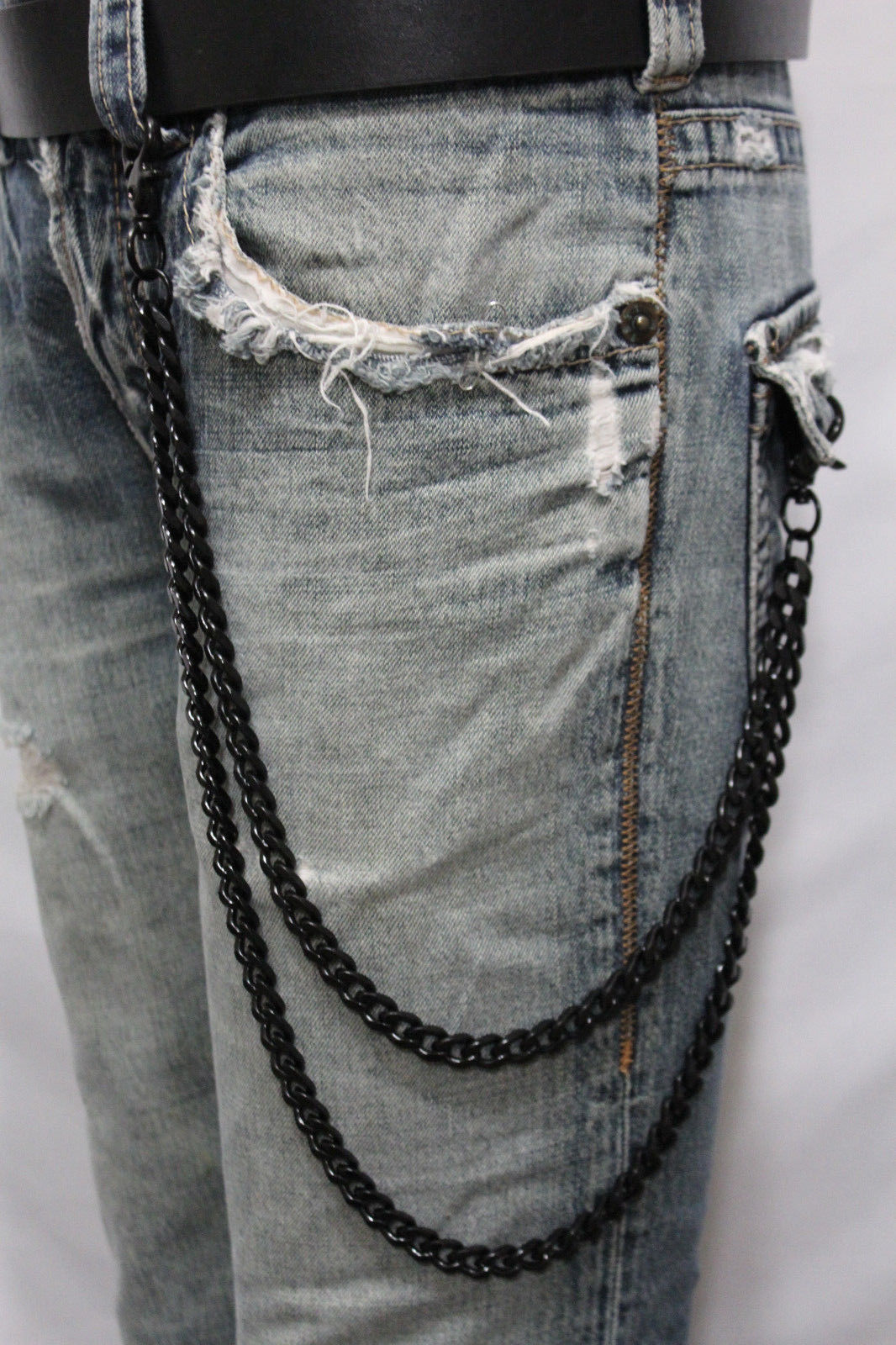 Men Black Long Wallet Chains Metal Links Keychain Jeans 2 Strands Chunky Biker Clothing Shoes Accessories Men S Accessories