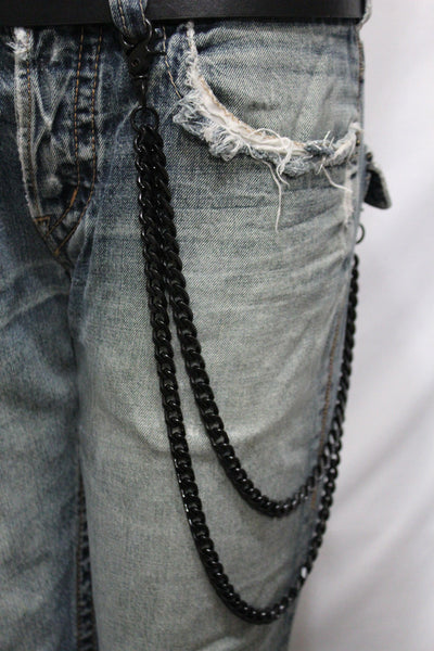 Black Heavy Metal Long Wallet Chains Metal Links KeyChain Jeans 2 Strands Chunky Biker Rocker Punk New Men Style - alwaystyle4you - 3