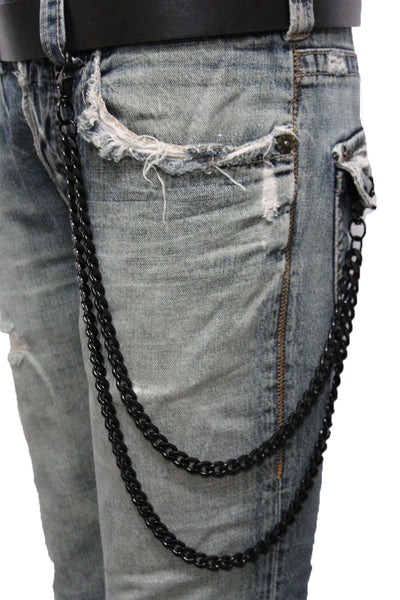 Brand New Men Black Color Metal Wallet Chain Jeans Biker 2 Strands Long Strong Keychain