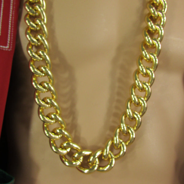 Men Chunky Metal Thick Chains Long Fashion Necklace Gold Hip Hop Gangster Bling