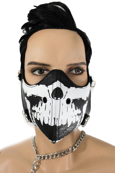 Black White Skull Print Muzzle S&M Rave Goth Face Mask Men Halloween Costume Carnival Accessories