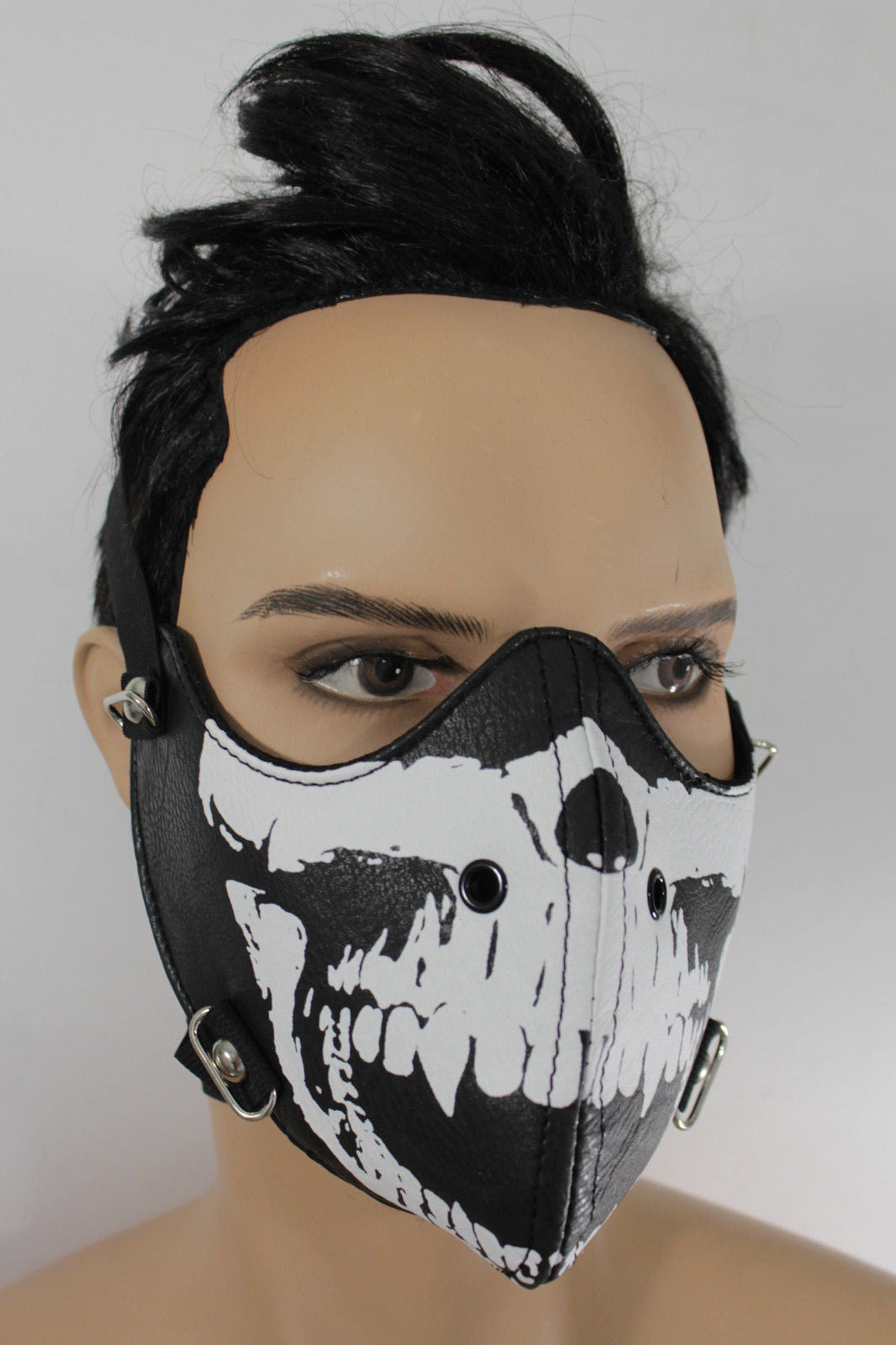 black white skull print muzzle s&m rave goth face mask men halloween