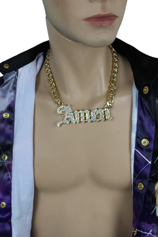 Men Necklace Gold Metal Chains Amen 3D Long Pendant Bling Hip Hop Big Jewelry Fashion Accessories