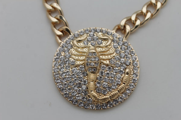 Men Necklace Gold Metal Chains Scorpion Pendant Bling Hip Hop Big Jewelry Fashion Accessories