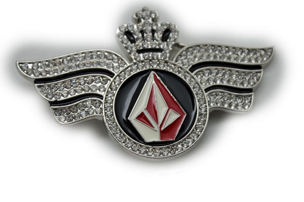 Silver Metal Long Wings Red Blue Diamond Crown Fly New Men Women Rodeo Fashion Accessories