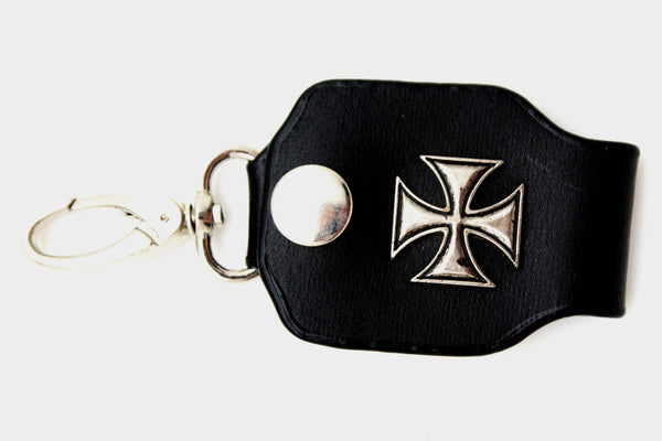 Silver Key Chain Ring Holder Iron Cross Charm Clasp Hook Black Faux Leather New Men Style - alwaystyle4you - 12