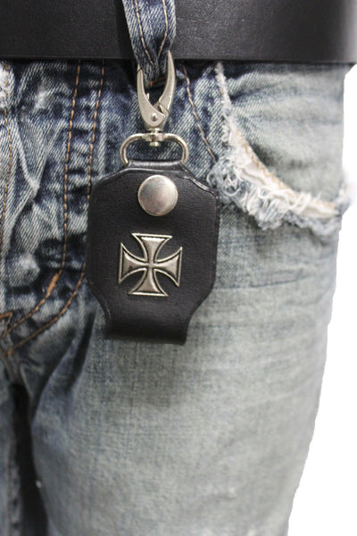 Silver Key Chain Ring Holder Iron Cross Charm Clasp Hook Black Faux Leather New Men Style - alwaystyle4you - 1