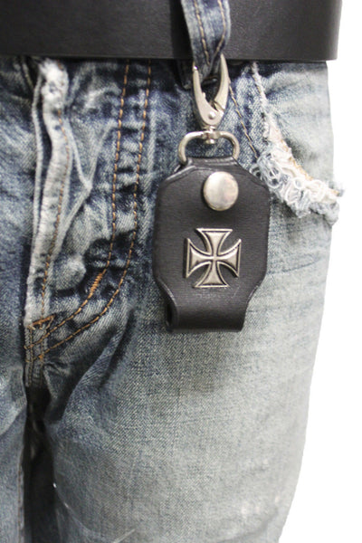 Silver Key Chain Ring Holder Iron Cross Charm Clasp Hook Black Faux Leather New Men Style - alwaystyle4you - 4