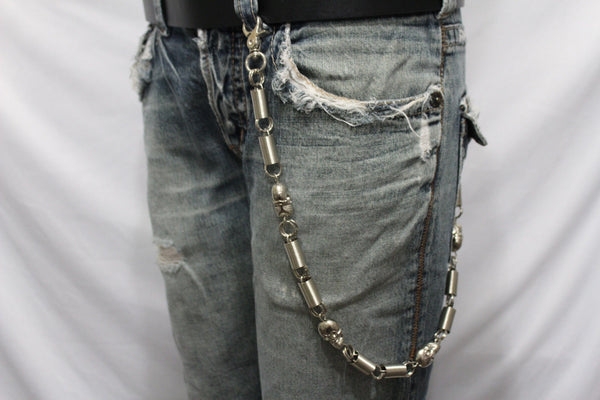 Silver Long Wallet Chains Metal KeyChain Spacers Jeans Springs Skulls Charms Rocker Motorcycle Biker New Men Style - alwaystyle4you - 1