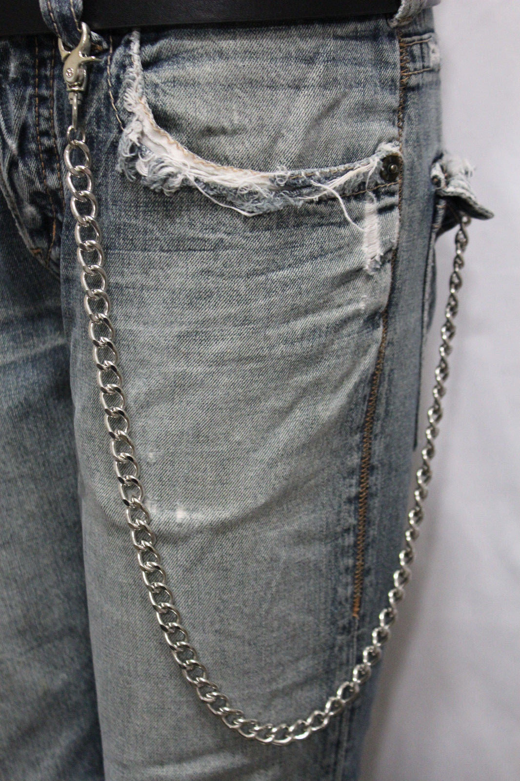 924e242143b Silver Long Wallet Metal Chain Link KeyChain Classic Chunky Basic Jean New  Men Style Accessories