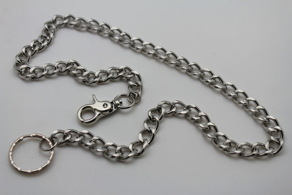 Silver Long Wallet Metal Chain Link KeyChain Classic Chunky Basic Jean Motorcycle Biker Rocker New Men Style - alwaystyle4you - 8