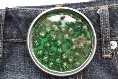 Silver Metal Round Belt Buckle Skeleton Skulls Gothic Green Brown Men Halloween Punk Accessories