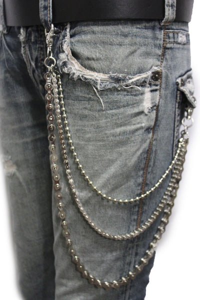 Silver Metal Wallet Chains Links KeyChain Jeans Biker 3 Strands Biker Motorcycle Rocker New Men Fashion Accessories - alwaystyle4you - 4
