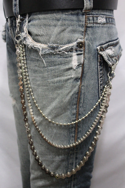 Silver Metal Wallet Chains Links KeyChain Jeans Biker 3 Strands Biker Motorcycle Rocker New Men Fashion Accessories - alwaystyle4you - 6