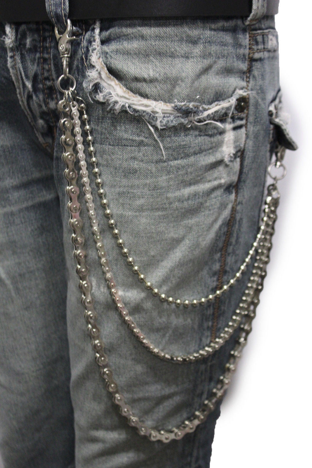 Men 3 Strand Silver Metal Wallet Chains Horns Spikes KeyChain Biker Jeans Rocker