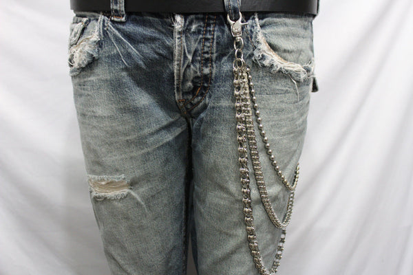 Silver Metal Wallet Chains Links KeyChain Jeans Biker 3 Strands Biker Motorcycle Rocker New Men Fashion Accessories - alwaystyle4you - 11