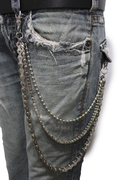 Silver Metal Wallet Chains Links KeyChain Jeans Biker 3 Strands Biker Motorcycle Rocker New Men Fashion Accessories - alwaystyle4you - 3