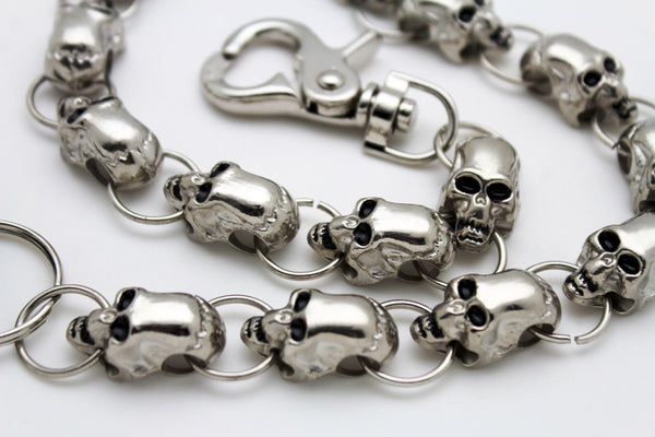 Silver Metal Long Wallet Chains Key Chain Big Thick Skulls Skeleton Bike New Men Style - alwaystyle4you - 8