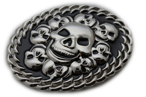 Silver Black Metal Gothic Skulls Skeleton 3D Belt Buckle New Women Men Punk Fashion Accessories