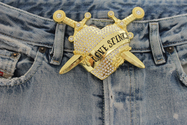 Gold Metal Big Heart Silver Rhinestone Love Stinks Belt Buckle Men Women Accessories